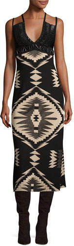 Ralph Lauren Collection Southwestern Jacquard Cami Gown, Black Pattern