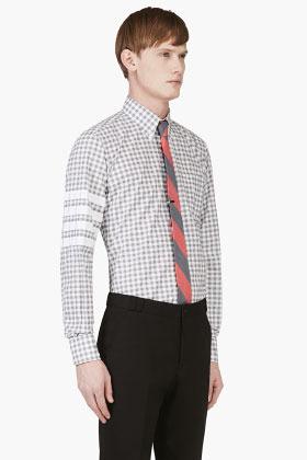 Thom Browne GREY Shepherd's CHECK BUTTON DOWN Shirt