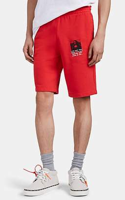 "Off-White Men's ""Monalisa"" Cotton French Terry Shorts - Red"