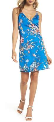 NSR Floral Print Satin Faux Wrap Dress