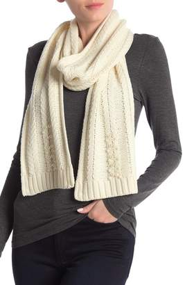 Badgley Mischka Faux Pearl Embellished Wool Blend Scarf