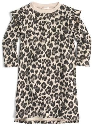crewcuts Ruffle Trimmed Leopard Print Long Sleeve Dress (Toddler Girls, Little Girls & Big Girls)