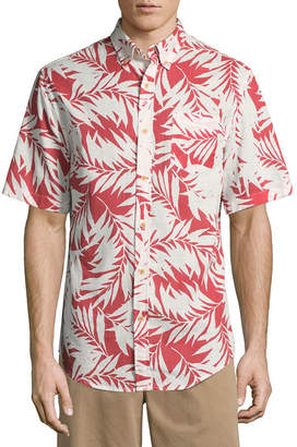 ST. JOHN'S BAY Short Sleeve Leaf Button-Front Shirt