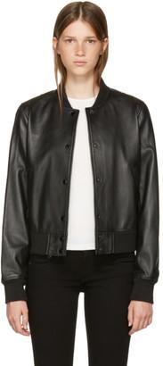Rag & Bone Black Leather Cooper Bomber Jacket $995 thestylecure.com