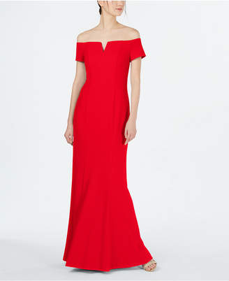 Calvin Klein Notched Off-The-Shoulder Gown