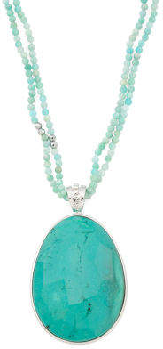 Sterling Silver Amazonite And Agate Pendant Necklace