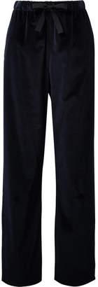 MM6 MAISON MARGIELA Cotton-velvet Wide-leg Pants - Midnight blue