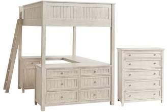 Pottery Barn Teen Beadboard Loft & 5-Drawer Dresser Set, Full, Weathered White