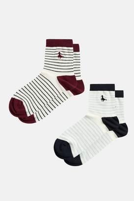 Jack Wills Elgar Stripe 2 Pack Ankle Socks