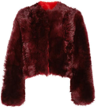 CALVIN KLEIN 205W39NYC - Overized Cropped Alpaca Coat - Burgundy