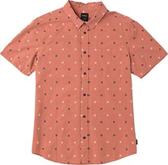 RVCA Men's and Sons Short Sleeve Woven Button up Shirt