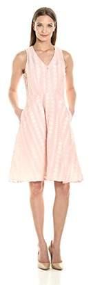 Donna Morgan Women's Vneck Dot Burnout Jacquard Fit&Flare Shirtdress W Self Belt