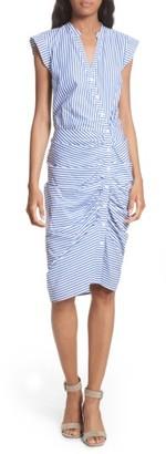 Women's Veronica Beard Ruched Stripe Shirtdress $450 thestylecure.com