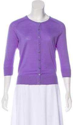 Tory Burch Wool Three-Quarter-Sleeve Cardigan