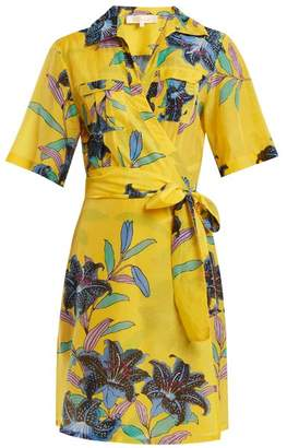 Diane von Furstenberg Floral Print Cotton And Silk Blend Wrap Dress - Womens - Yellow Print