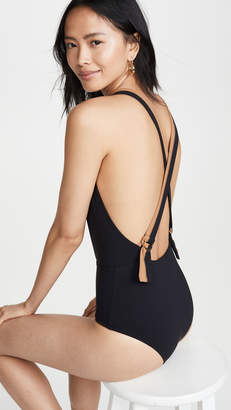 bf125e73c8b7f Karla Colletto Plunge Back One Piece Swimsuit - ShopStyle