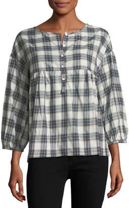 Max Studio 3/4-Sleeve Plaid Shirt