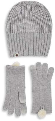 UGG 2-Piece Rib-Knit Hat and Faux Fur Pom And Dyed Shearling Gloves Set