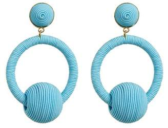 Suzanna Dai Wrapped Cord Ball Accent Hoop Drop Earrings