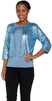 Bob Mackie 3/4 Sleeve Sequin Cardigan and Knit Tank Set