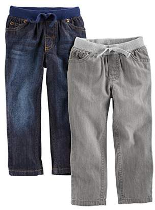 Carter's Simple Joys by Baby Boys' Toddler 2-Pack Pull on Denim Pant