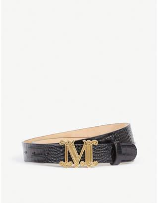 Max Mara Branded-buckle leather belt