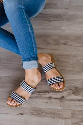 Gingham Strap Sandals