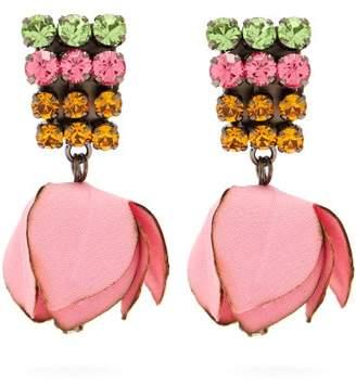 Marni Crystal Embellished Flower Drop Clip On Earrings - Womens - Pink
