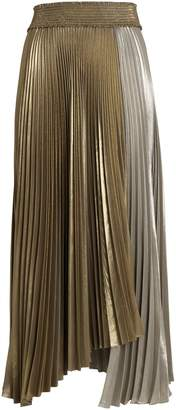 A.L.C. Neville Pleated Lame Skirt