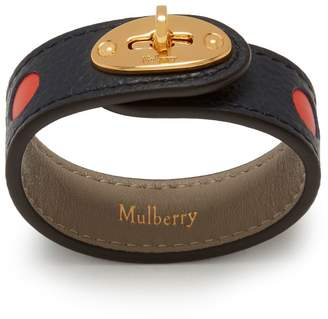 Mulberry Bayswater Leather Bracelet Midnight Smooth Calf Perforated Dots