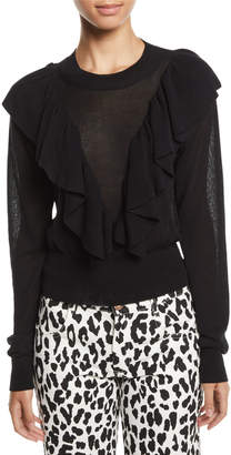 See by Chloe Double-Ruffle Long-Sleeve Knit Top
