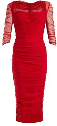 Dolce & Gabbana Ruched Tulle Midi Dress - Womens - Red