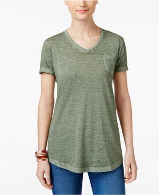 Style&Co. Style & Co V-Neck Burnout Pocket T-Shirt