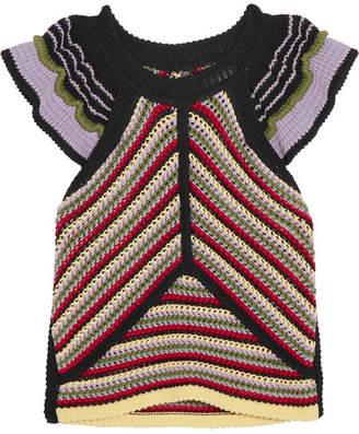 ALEXACHUNG Striped Crochet-knit Cotton-blend Top - Red