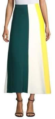 Derek Lam Women's Colorblock Knit Midi Skirt - Green Multi - Size Small