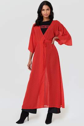 Na Kd Boho Structured Chiffon Coat Dress
