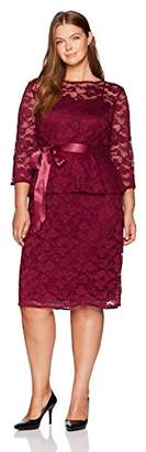 Chetta B Women's 3/4 Sleeve Plus Size Lace Peplum Dress