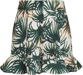 PatBO Palm Print Ruffle Hem Shorts