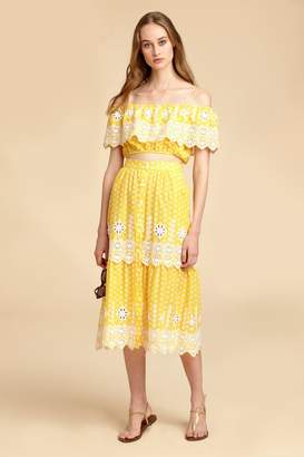 Miguelina Carolina Broderie Anglaise Midi Skirt - Rubber Ducky Yellow