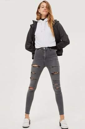 Topshop Moto grey super ripped joni jeans