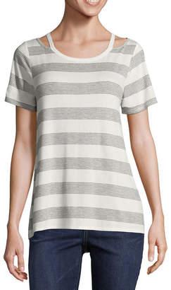 EYESHADOW GIRLS Eyeshadow Short Sleeve Split Crew Neck Stripe T-Shirt-Womens Juniors