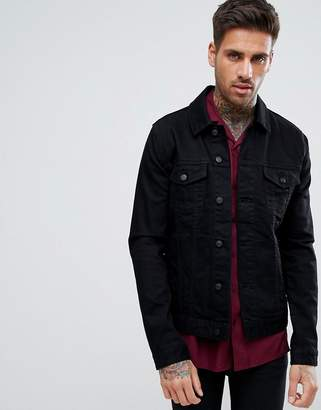 Asos DESIGN skinny denim jacket in black