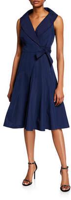 Finley Johanna Sleeveless Portrait-Collar Side-Tie Dress