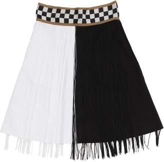 Nikolia Bicolor Cotton Blend Skirt W/Fringes
