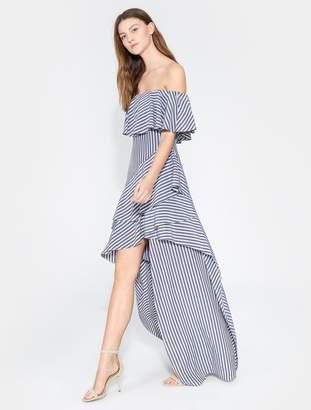 Halston Striped Off Shoulder Gown