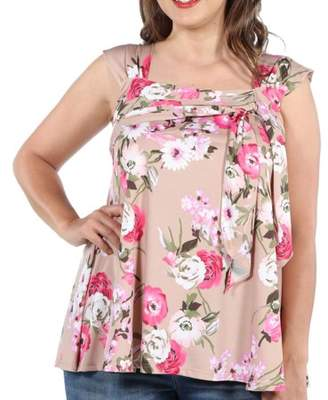 24/7 Comfort Apparel Britt Brown and Pink Floral Wrap Plus Size Tunic Top