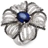 Effy Black and White Diamond, Sapphire, & 14K White Gold Cocktail Ring