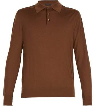Prada Long Sleeved Wool Polo Shirt - Mens - Brown
