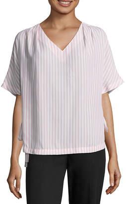 WORTHINGTON Worthington Short Sleeve V Neck Side Tie Blouse