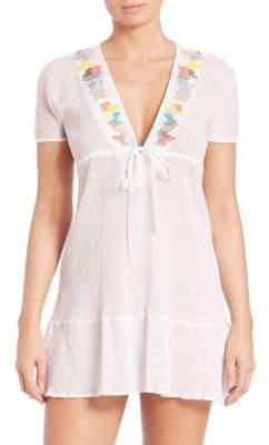 Shoshanna Embellished Cotton Peasant Dress